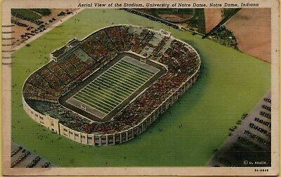 1948 Air Aerial View Football Game Crowd Stadium Notre Dame IN Postcard A26