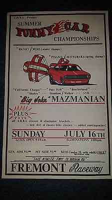 1972 Big John Mazmanian Fremont Raceway Poster Pure Hell, Radici & Wise & More