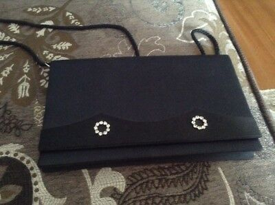 Black vintage evening bag with diamonte accents