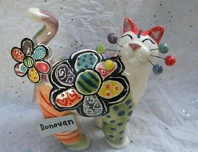 Donovan- Britto inspired WhimsiClay Cat with Gorgeous adjustable size ring