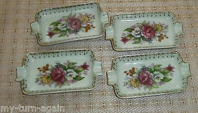 Vintage 1960's Set  4 Porcelain French Bouquet Pink Flowers Green Ashtrays