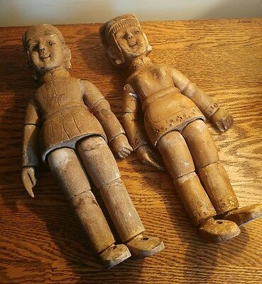 RARE PAIR OF LATE 18th/EARLY 19thC CENTRAL ASIAN WOODEN MARRIAGE/FERTILITY DOLLS