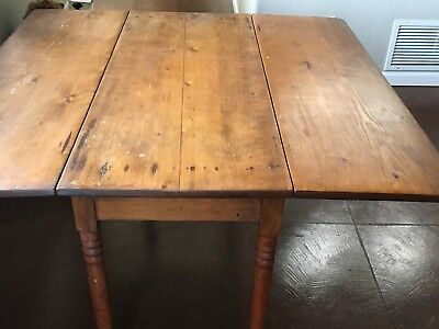 Primitive Antique Distressed Pine Drop Leaf Farmhouse Dining Table