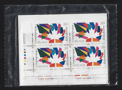 Canada — Set of 4 inscription Corner Blocks — 1990, Multiculturalism #1270 — MNH