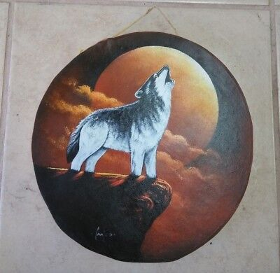 """Rawhide drums , HOWLING WOLF  , Hand painted 12"""" , with beater , decor , signed"""