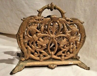 Antique Victorian Cast Iron Letter Holder With Dragons In Original Brass Paint