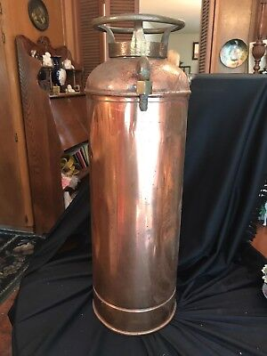 Antique Copper & Brass Fire Extinguisher - Unmarked