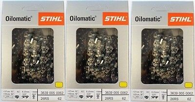 """3 Pack) 16"""" STIHL Chainsaw Chain 26RS 62 Rapid Super   3639 005 0062 26 RS 62"""