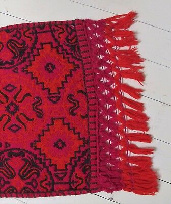 TABLE or BED RUNNER 1960s-70s VINTAGE Fringe Chunky Woven Eames era Retro Mid