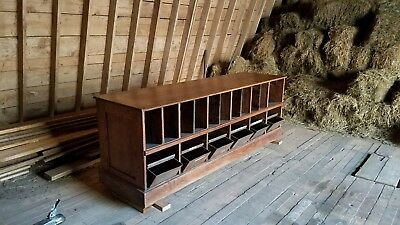 Antique Solid Oak Hardware Store Counter, Country Counter and Store Display
