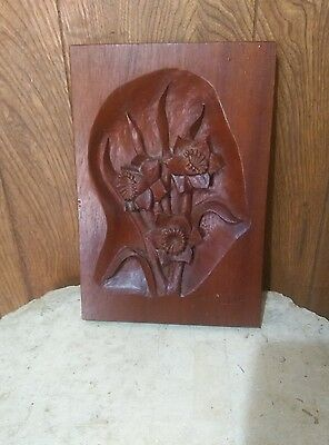 Fantastic Carved Wood Art Noveau Floral Panel Solid Wood