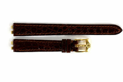 Omega 12Mm Genuine Brown Leather Watch Band 97862022 Croco Grain Deville W/ Pins