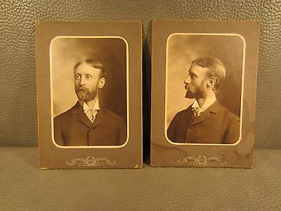 Pair of Victorian Antique Cabinet Card Photo of a Man  ......FREE SHIPPING
