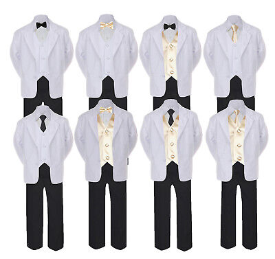 5-7pc Formal Black White Suit Set Champagne Bow Necktie Vest Boy Baby Sm-20 Teen