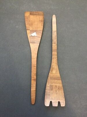 Set of 2 Vintage Mid Century Modern Weavewood Salad Fork & Spoon Serving Server