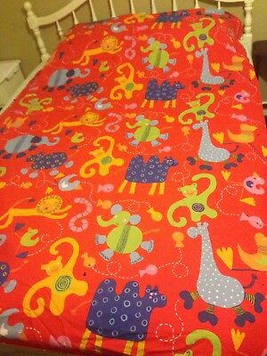 IKEA Barnslig Djur Twin Kids Duvet Cover Red Orange Zoo Animals Blue Green Gold