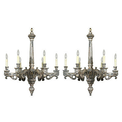 Amazing Pair of Italian Neoclassical-style Silver Leaf Chandeliers Six light