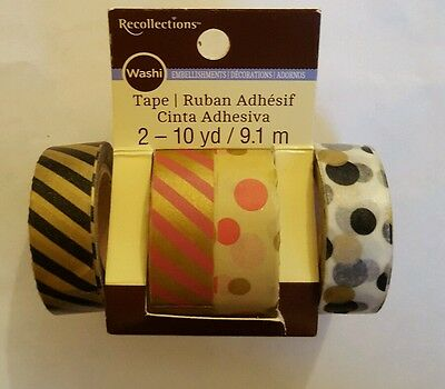 Lot 4 Rolls Of Recollections Crafting Washi Tape Scrapbook Paper Craft New
