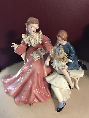 Florence Ceramics STORY BOOK HOUR w/BOY and girl figurine-MINT