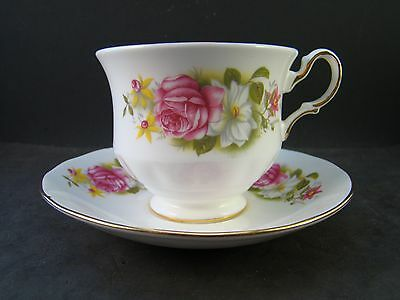 Queen Anne Tea cup & Saucer set Gold Trim Pink & White Roses