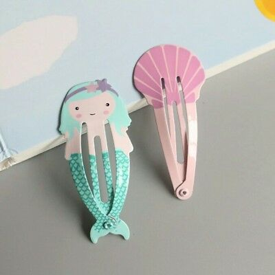 A Set of 2 Girls  Mermaid and Shell Hair Snap Clips New