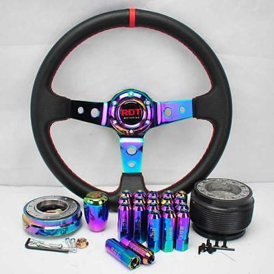 Neo Chrome Steering Wheel+Quick Release+Shift Knob+Lug Nut For 94-01 Integra Dc