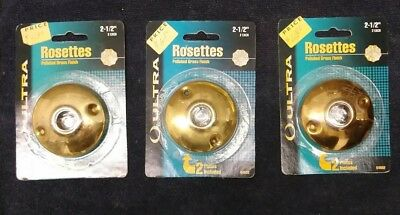 3 sets of ANTIQUE STYLE SOLID BRASS DOOR KNOB ROSETTES