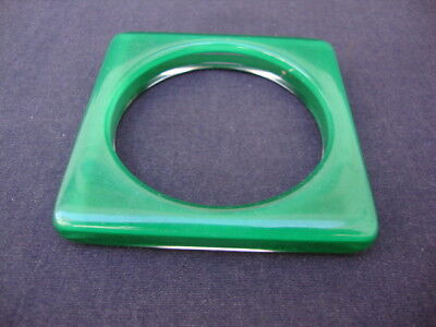 """Vintage 1960s Green Clear Lucite Bangle Bracelet 3"""" Square 2 5/8 Opening Jewelry"""