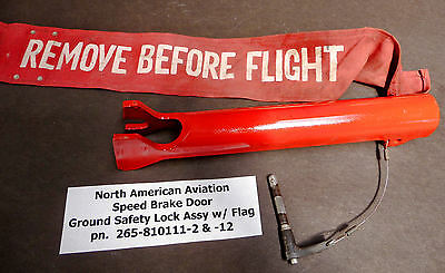 North American Sabreliner Jet Speed Brake Door Ground Safety Lock Assy w/ Flag