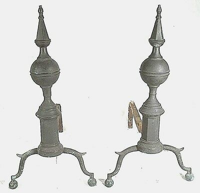 PAIR ANTIQUE EARLY 19th CENTURY FEDERAL STEEPLE TOP BALL FOOT BRASS ANDIRONS