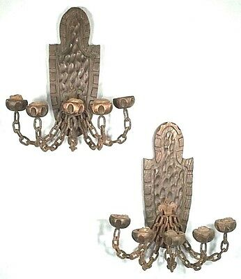 Pair Of Mid Century Spanish Colonial Wood+Iron 5 Arm Chain Link Candle Sconces