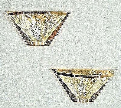 Vintage Pair Of Mid Century Modern 5 Sided Brass+Glass Half Sconces