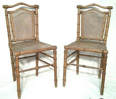 Antique Pair Of English Regency Bamboo Turned Hardwood Cane Seat Chairs