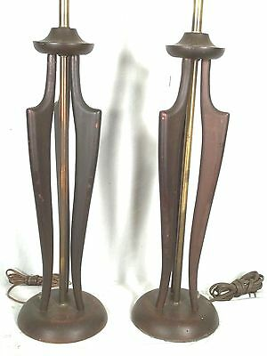 A Stylish Pair Of Mid Century Danish Modern Eames Wegner Carved Wood Lamps