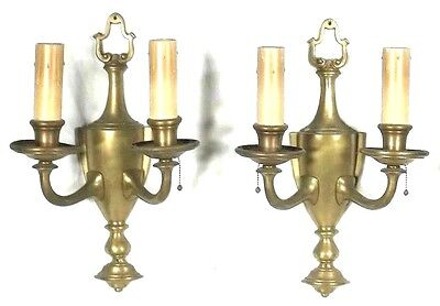 PAIR OF EARLY 20th CENTURY CLASSICAL REGENCY URN BACK DOUBLE ARM BRASS SCONCES