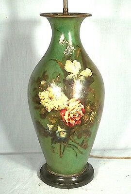 Rare Antique Victorian Paper Mache Floral Hand Painted Green Vase Lamp