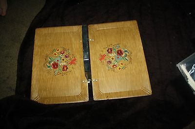 vintage very unusual folding Haskelite wooden tray with floral design