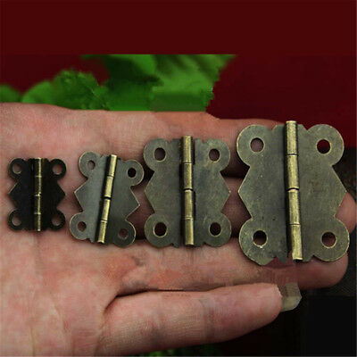 4x Antique Brass Miniature Hinges Jewelry Gift Box Drawer Cabinet Chests Hinge
