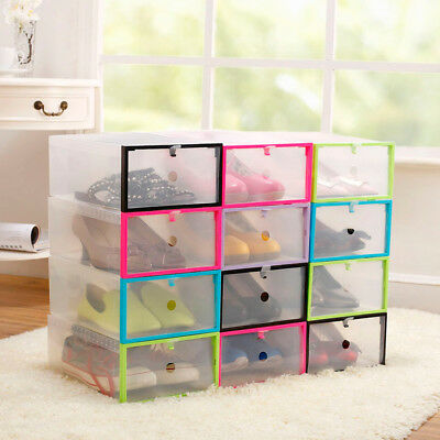 4~20PCS Foldable Clear Plastic Drawer Case Shoe Box Storage Stackable Organizer
