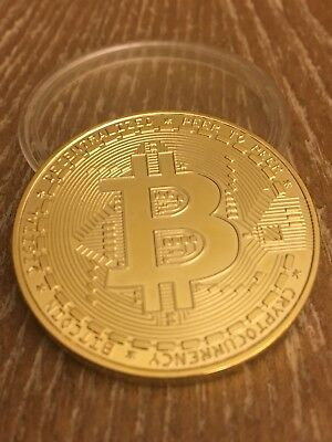 BITCOIN Gold Plated Physical Coin in Protective Acrylic Case Bitcoin