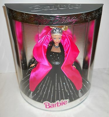 """Happy Holidays Barbie Doll """"1998"""" Beautiful Black/silver & Pink Outfit, Nrfb!"""