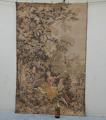 Large Vintage French Beautiful The Indiscretion Tapestry 196X123cm (A591)
