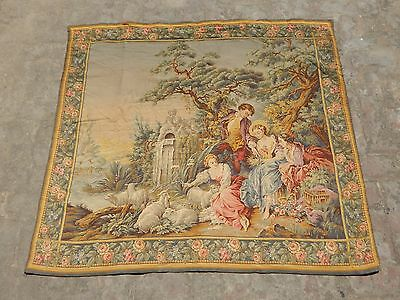 Antique 19thC French Beautiful Pastoral Tapestry 143x130cm (A1155)