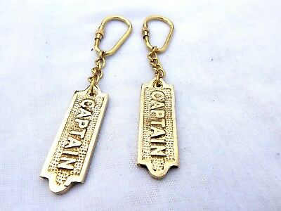 Antique Solid Brass Caption Key chain Marine Nautical Key Ring Gift Set Of 2 Pcs