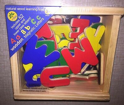 3 packs lot 1-52 Wood Alphabet Magnets in box&2 packs plastic magnetic letters