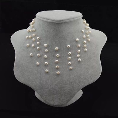 Genuine Cultured Freshwater Pearl necklace 5-6mm  Multi Strand Pearl Necklace