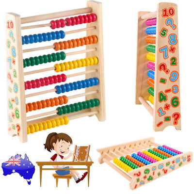 Wooden Children's Counting Bead Abacus Educational Frame Maths Toy For Kids Gift