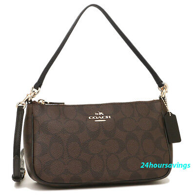 New COACH Black Brown Messico Top Handle Pouch Crossbody Shoulder Purse 58321