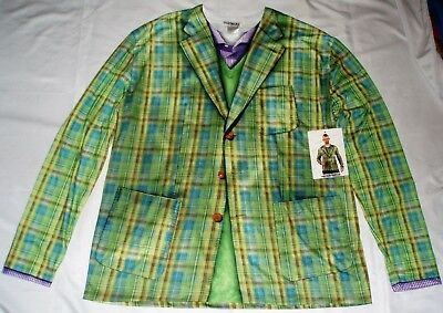 Men's FAUX REAL Green PLAID Suit Costume Shirt M L XL Ugly Christmas