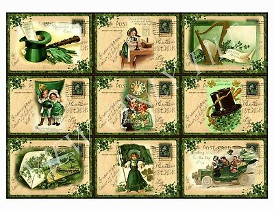 9 Vintage St Patrick's Day Postcard Hang Tags Scrapbooking Paper Crafts (229)